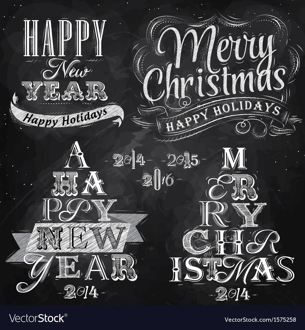 Set Merry Christmas Happy chalk vector image