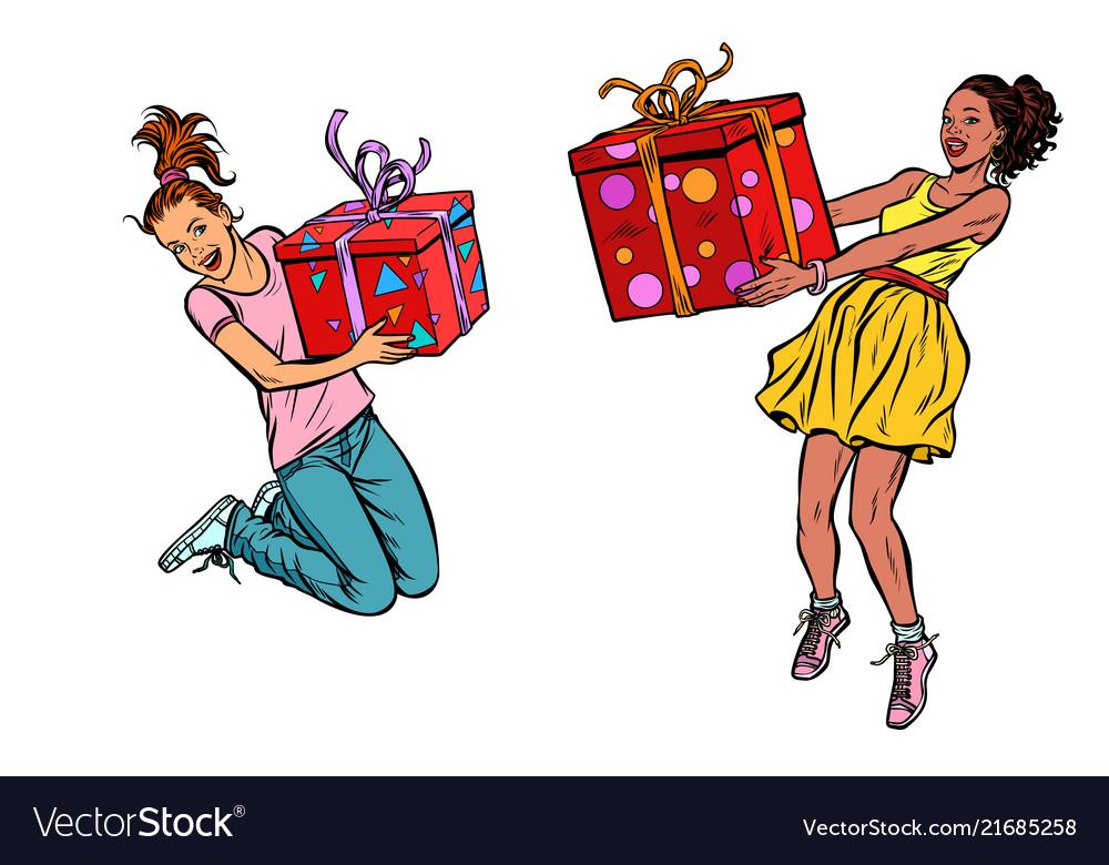 Two girls joyful with gifts