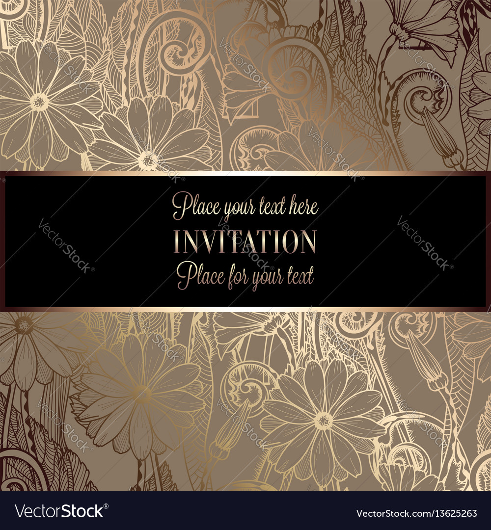 Abstract background with flowers luxury black and
