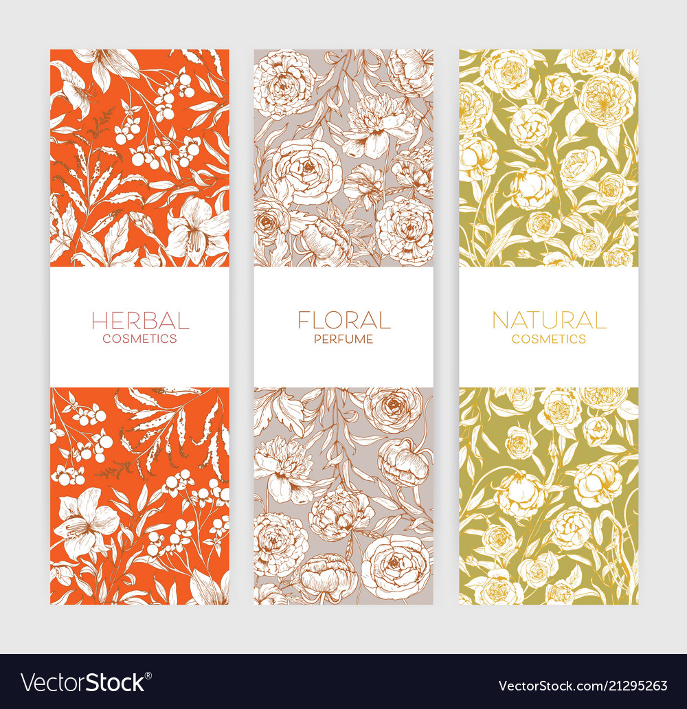 Collection of vertical floral backdrops or banners