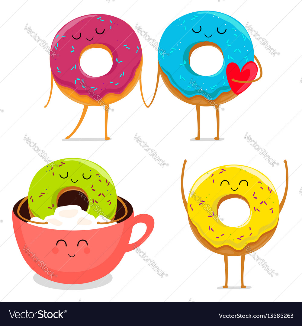 Funny donut characters set in leisure