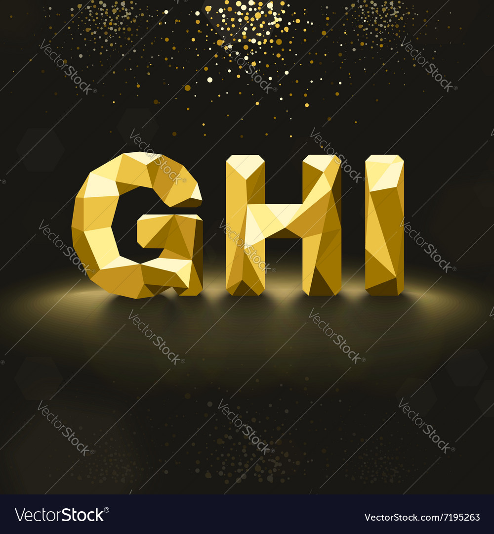Golden Lowpoly Font from G to I