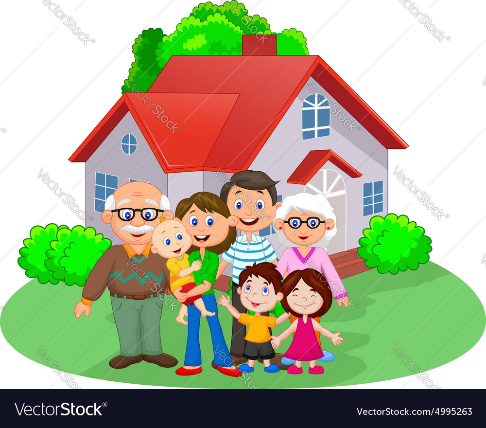 Happy cartoon family vector image