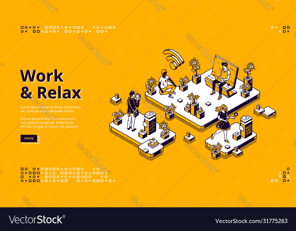 Landing page with work and relax concept