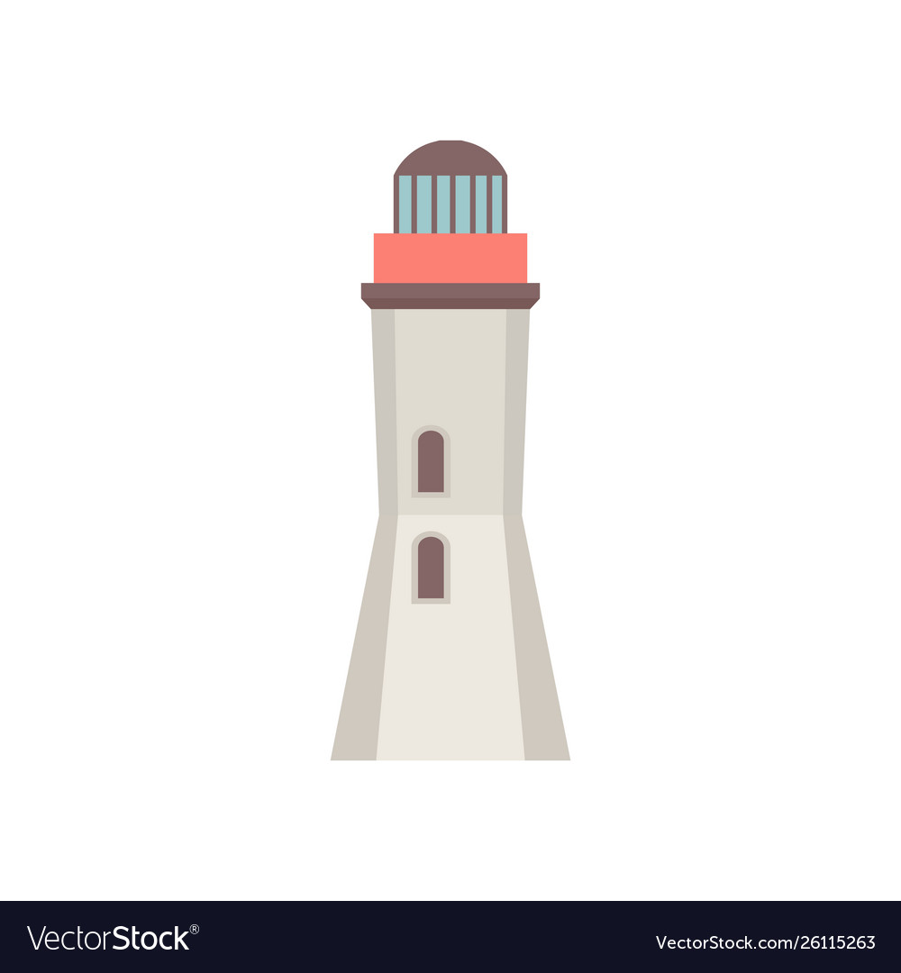 Lighthouse icon in flat style isolated on white
