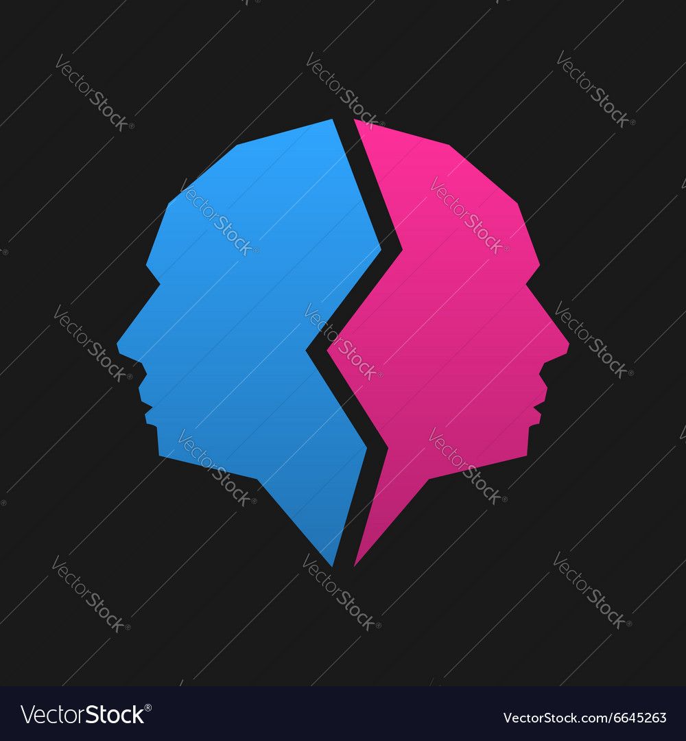 Logo template Pink and blue face vector image