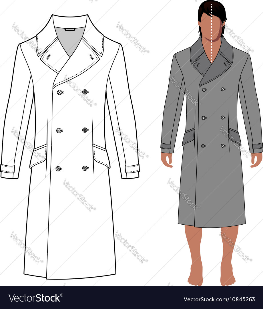 Mans coat outlined template front view