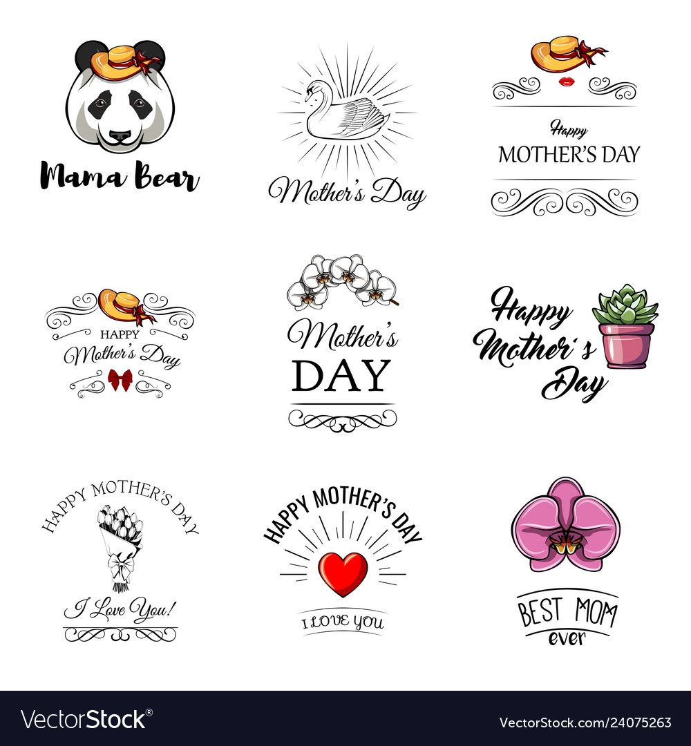 Mothers day labels set