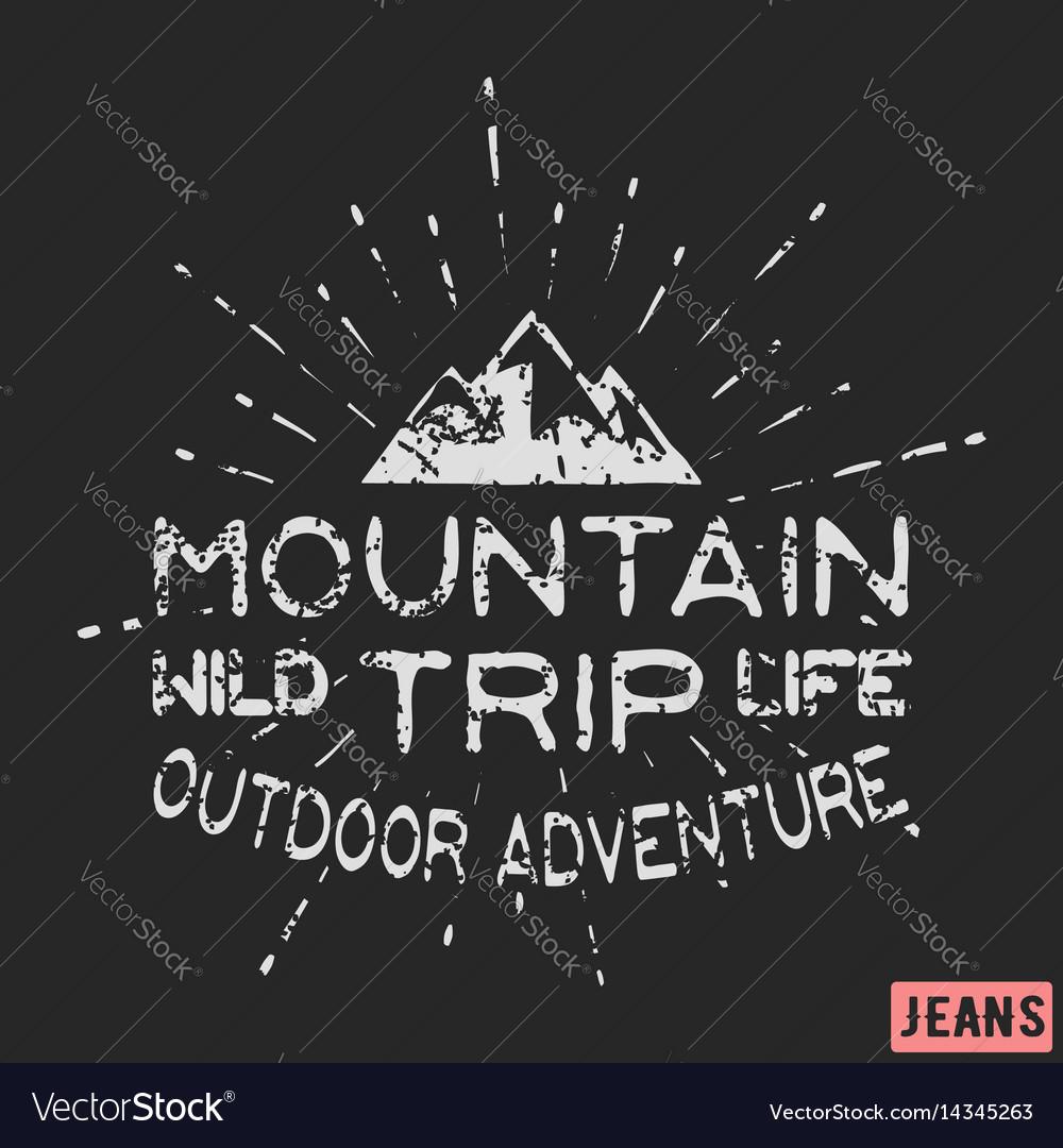 Mountain outdoor adventure vintage stamp