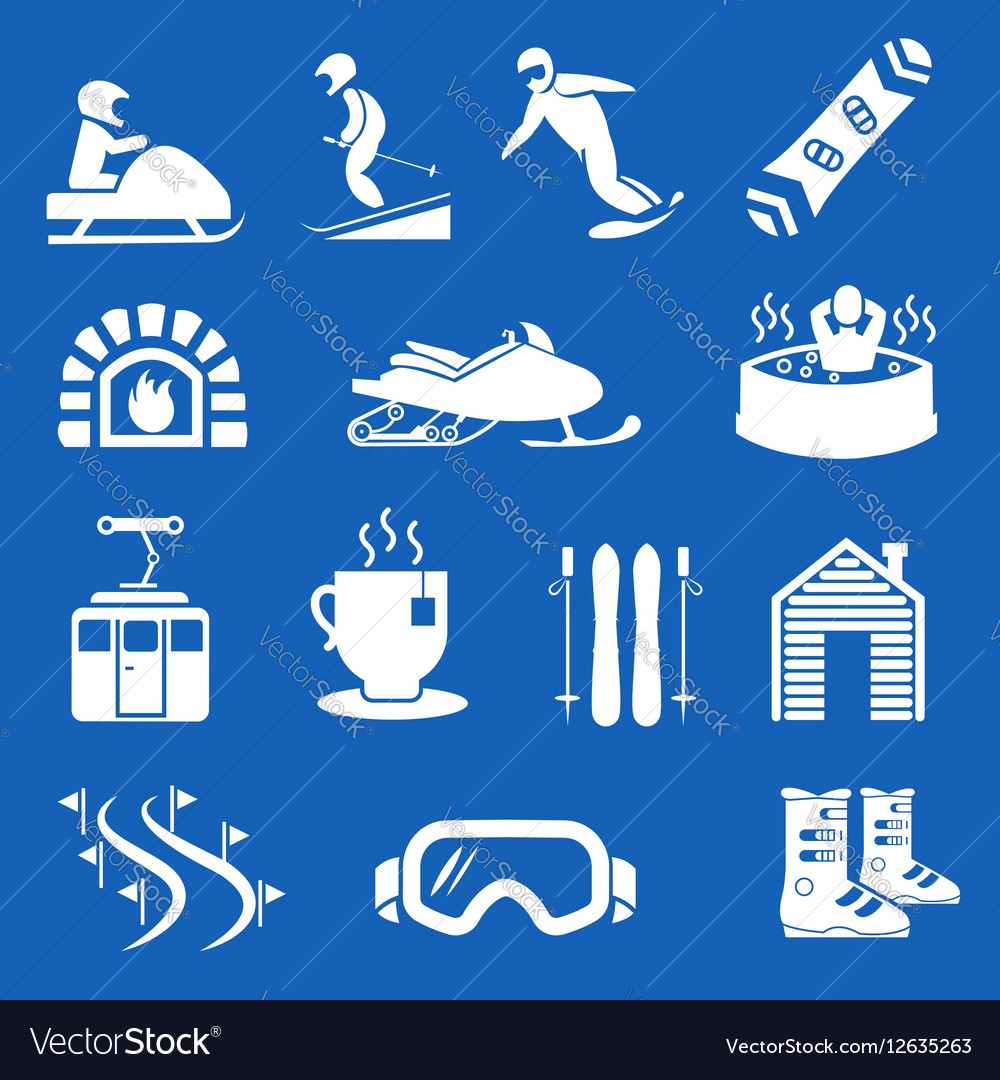 Mountain winter resort and sport hotel icons Ski