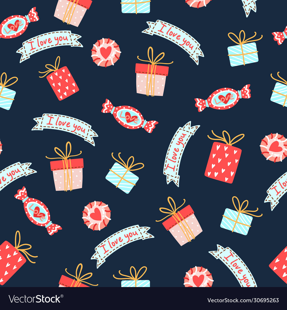 Seamless pattern for valentines day with cute