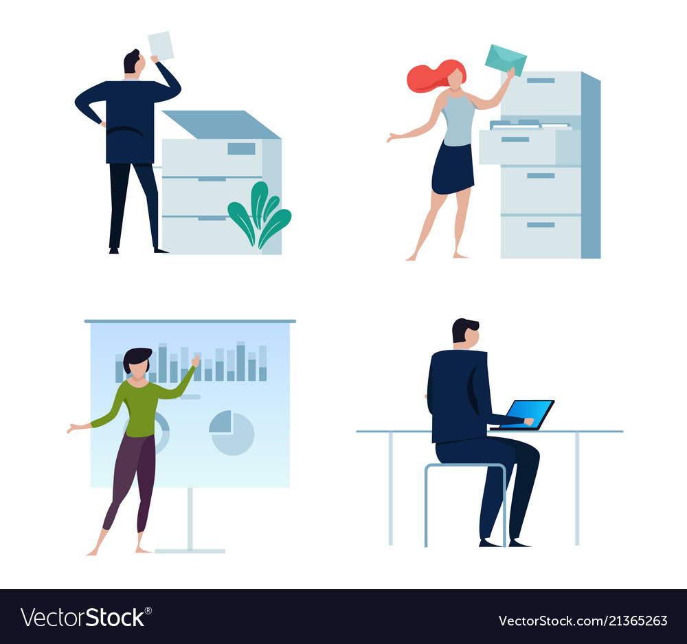 Set of business people or office workers man and