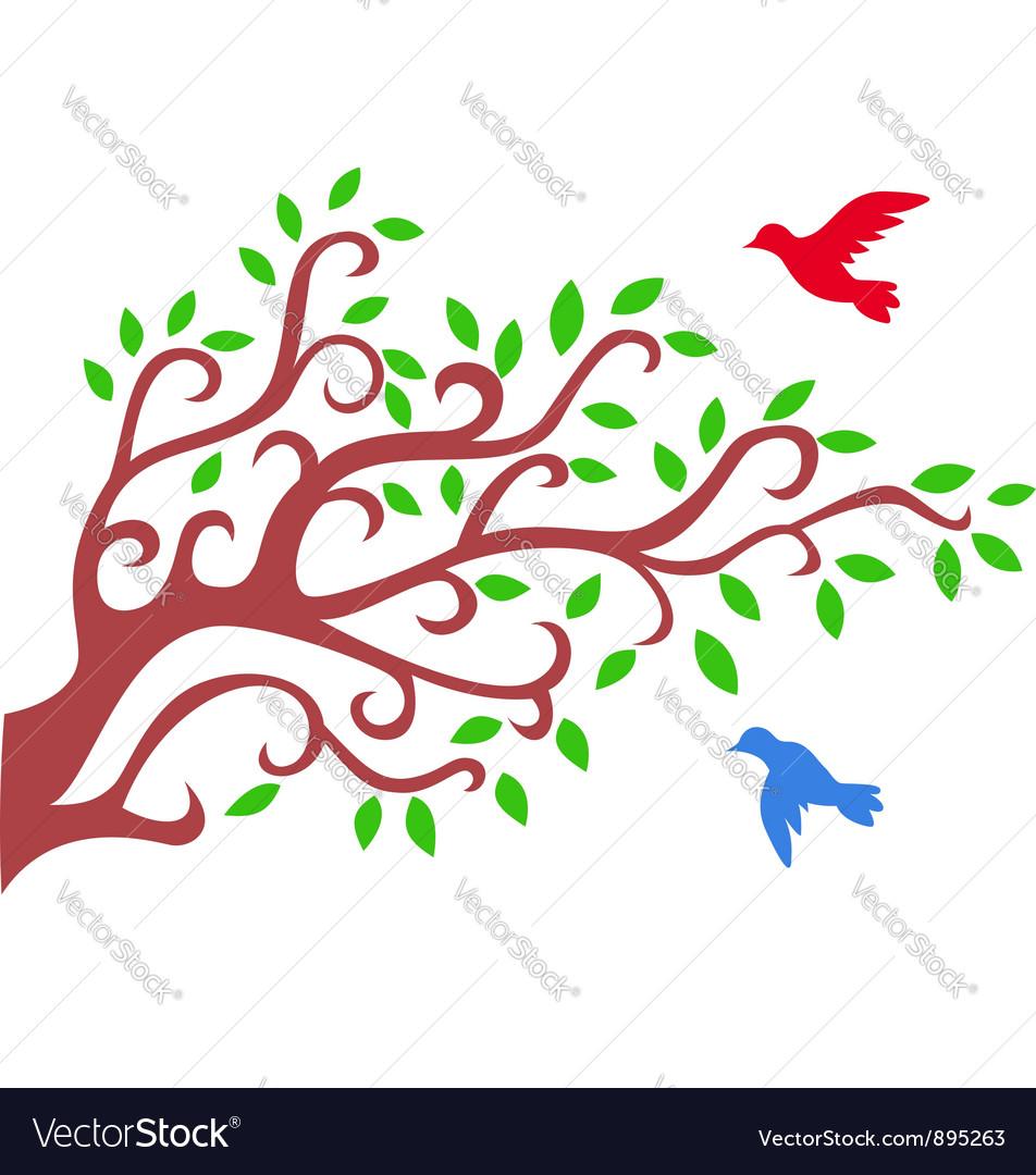 Tree silhouette with bird