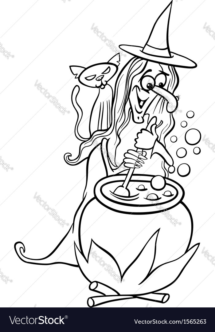 Witch cartoon for coloring book vector image