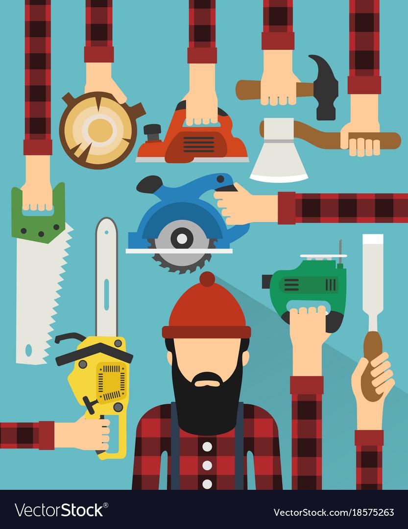 Worker and lumberjack design flat
