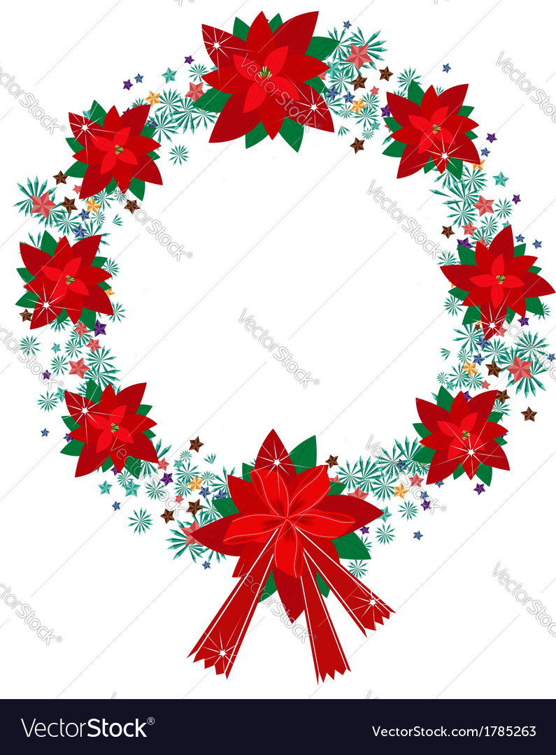 Xmas Wreath Red Poinsettia Flowers And Bow Vector Image