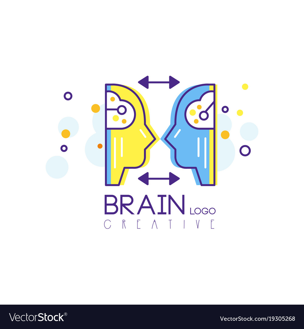 Abstract human heads with brains profile view