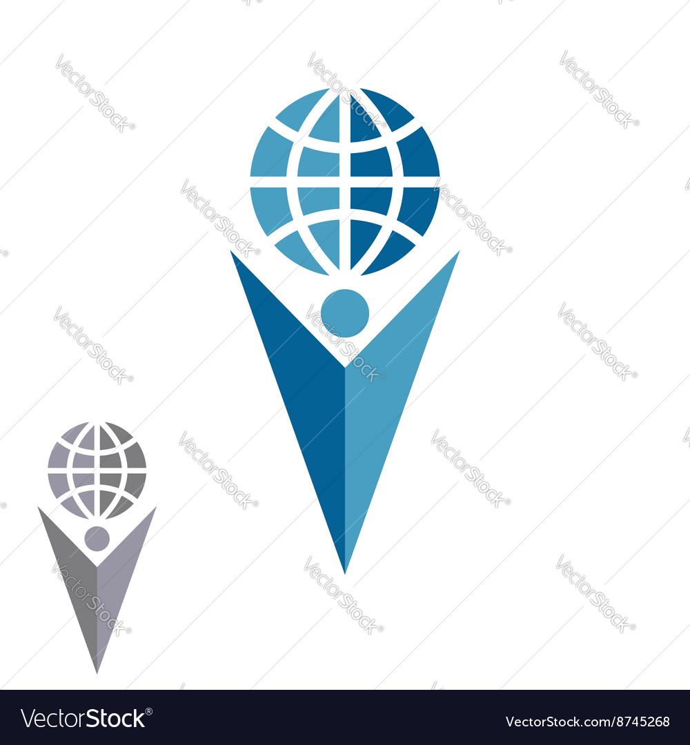 Abstract silhouette man logo holding globe human