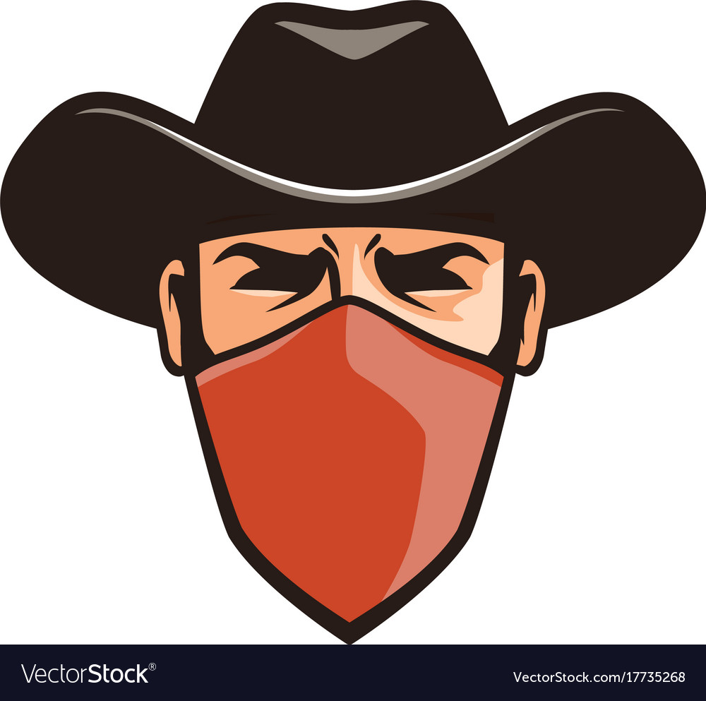 Angry thug in mask cowboy robber bandit in hat