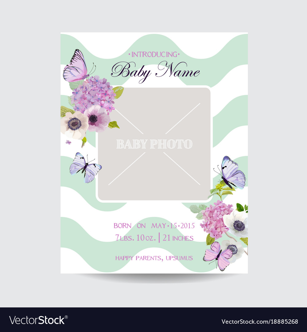 Baby shower invitation template with photo frame