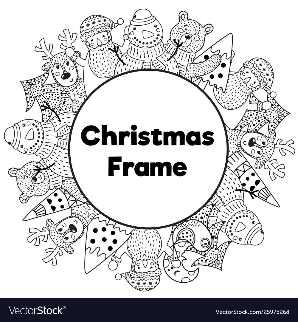 Black and white christmas frame in coloring page