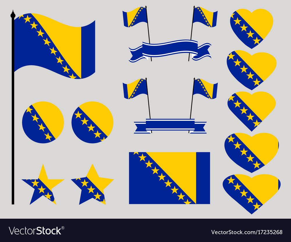 Bosnia and herzegovina flag set collection