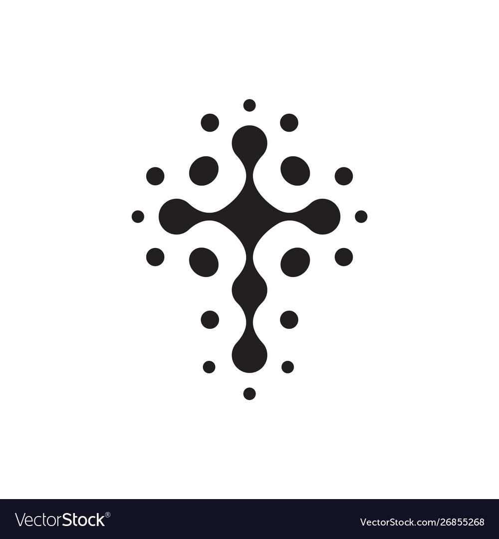 Christian symbol black connection dots icon
