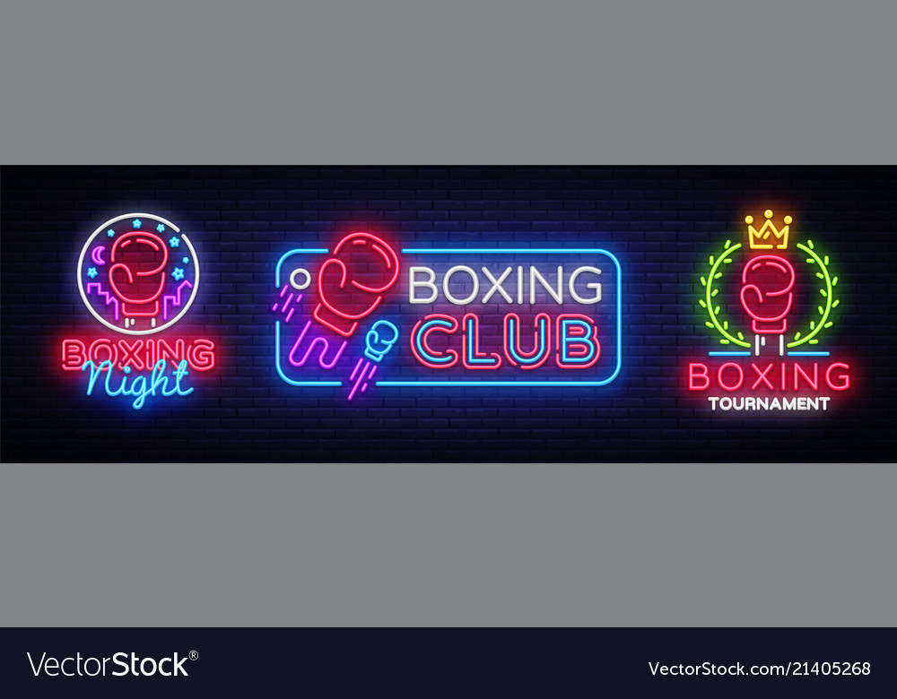 Collection boxing neon signs design