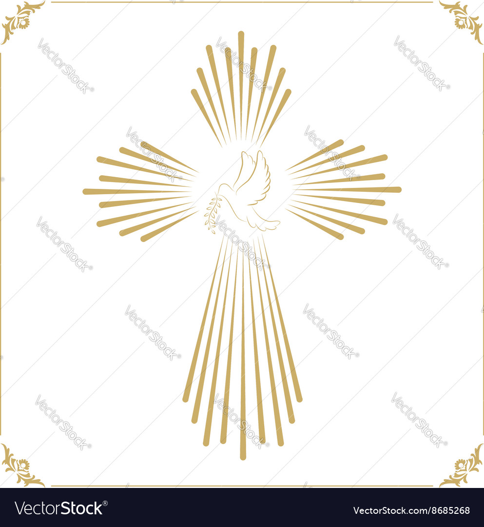 Cross with the dove Church emblem template design
