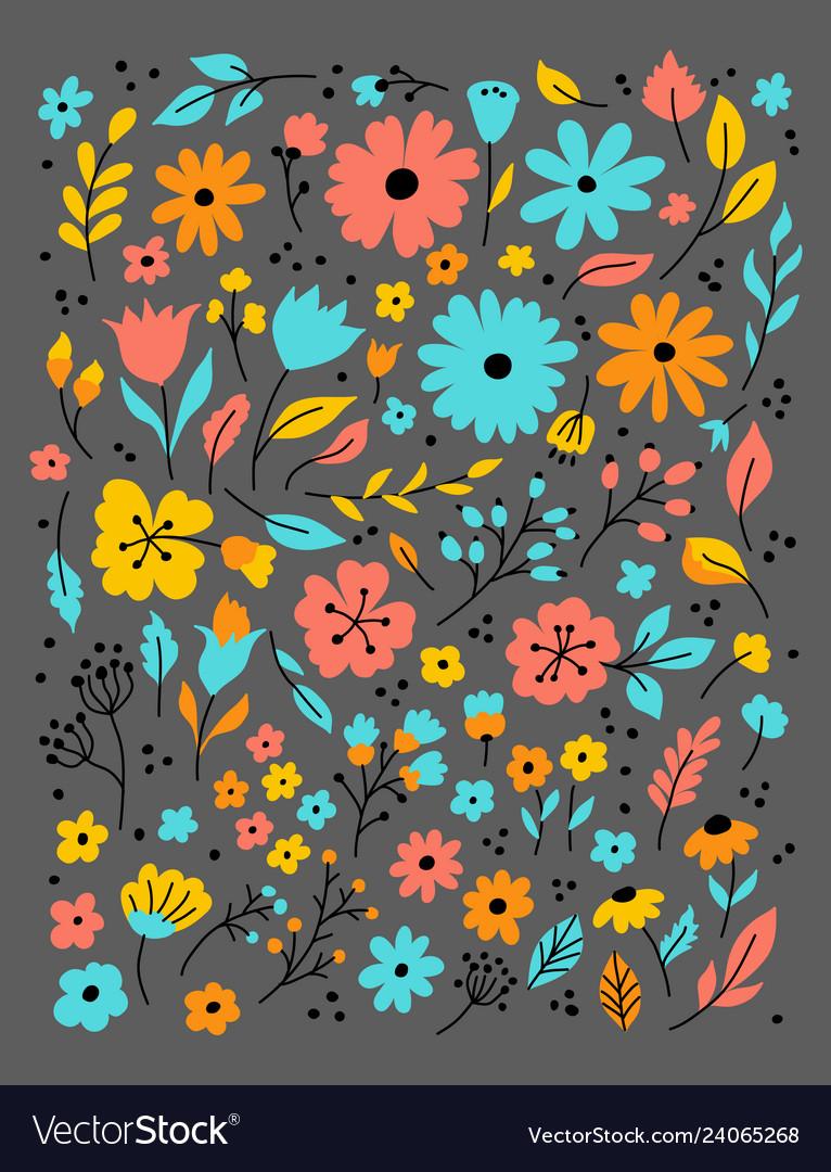 Doodle flowers hand drawn floral set flower