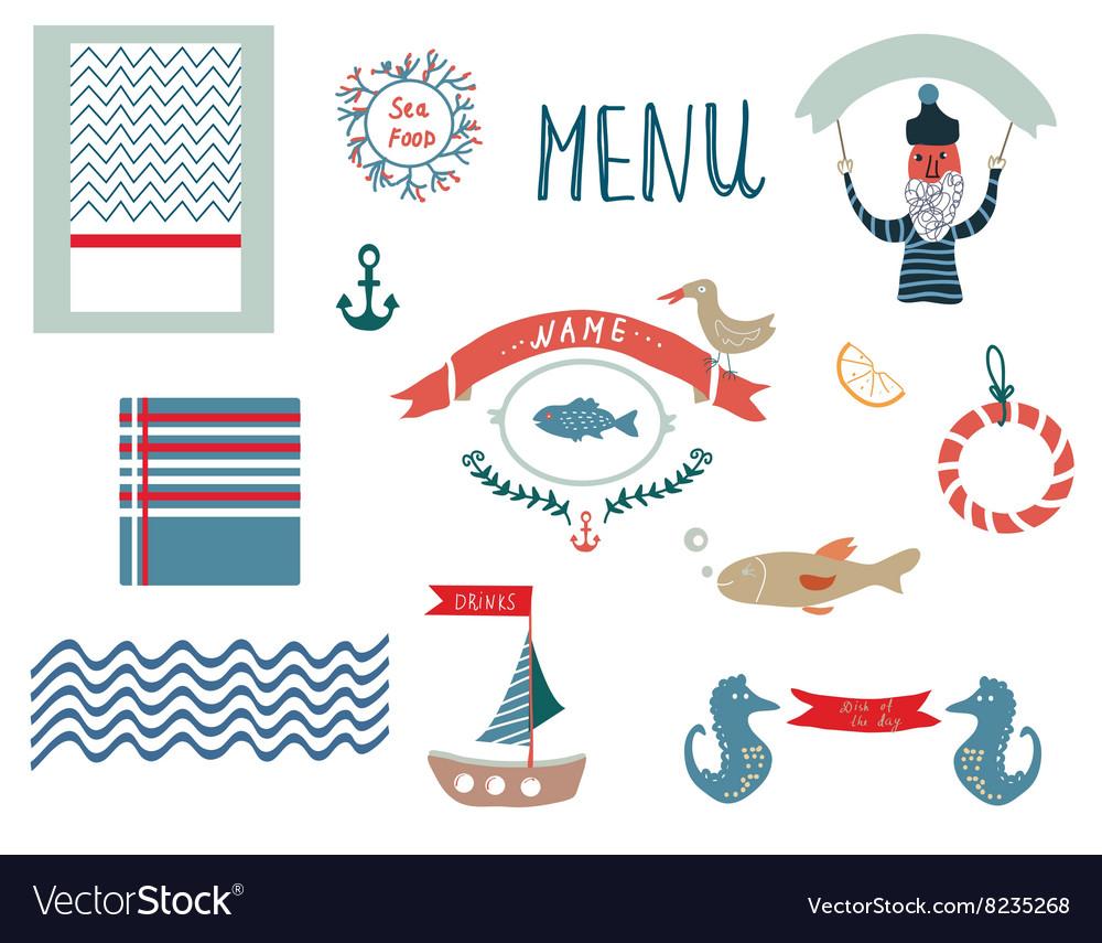 Fish restaurant menu design elements in funny