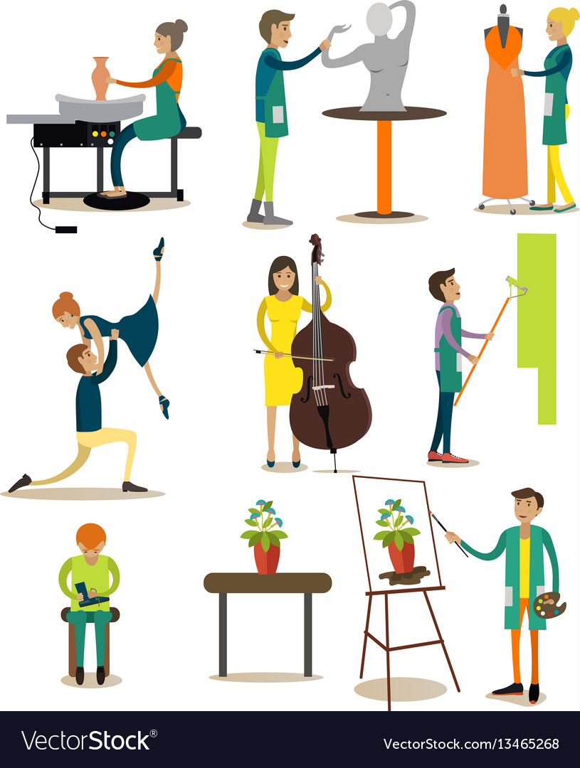 Flat icons set of artistic profession