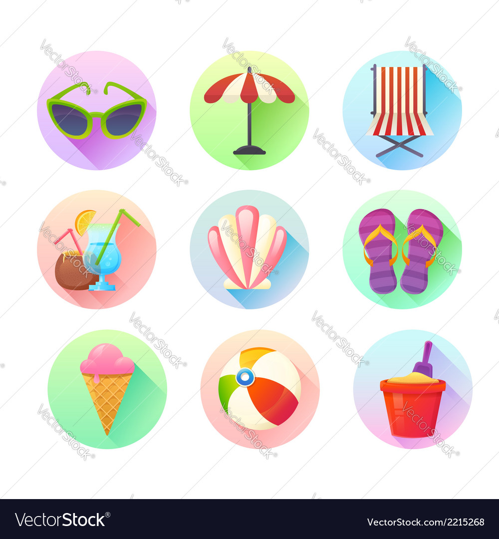 Flat trendy summer colorful icons set
