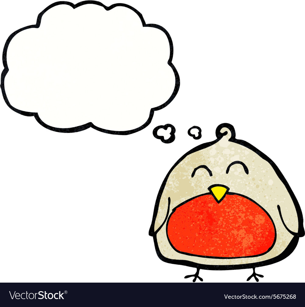 Funny cartoon christmas robin with thought bubble