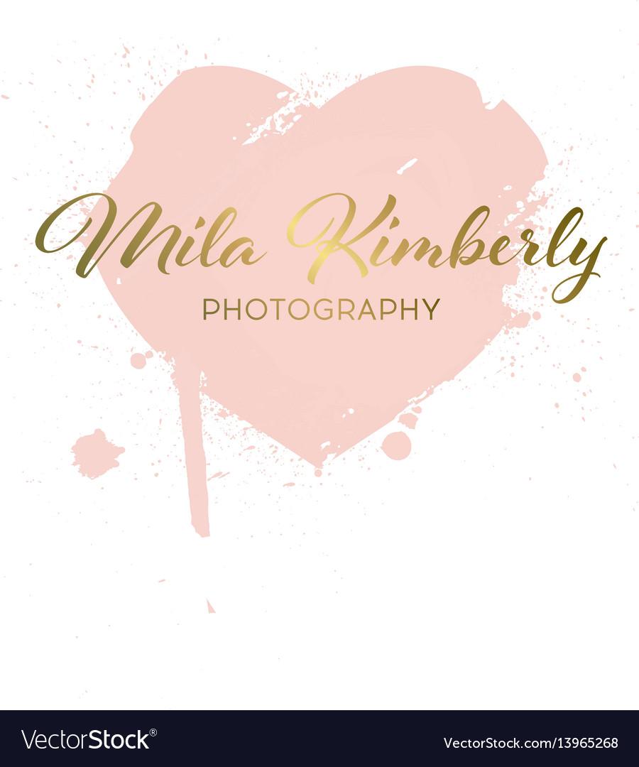 Logotype heart from brush strokes grunge