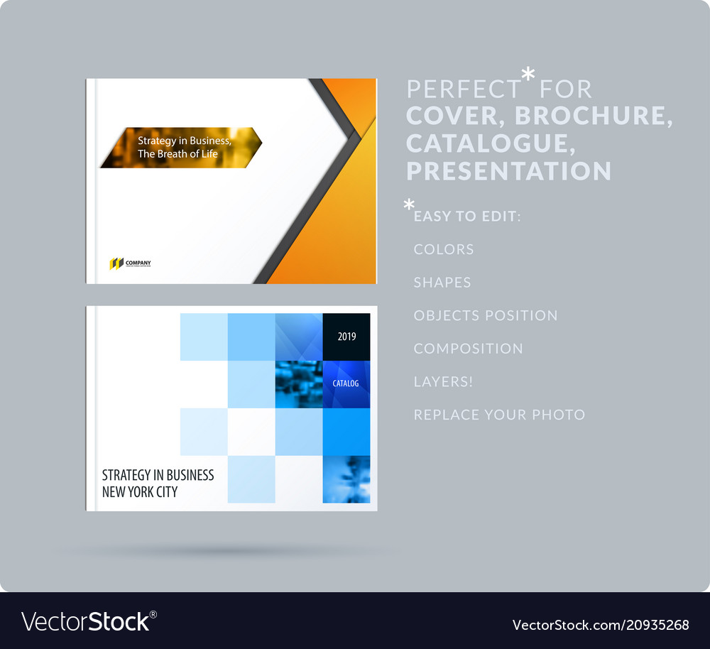 Material Design Style Presentation Template With Vector Image On Vectorstock