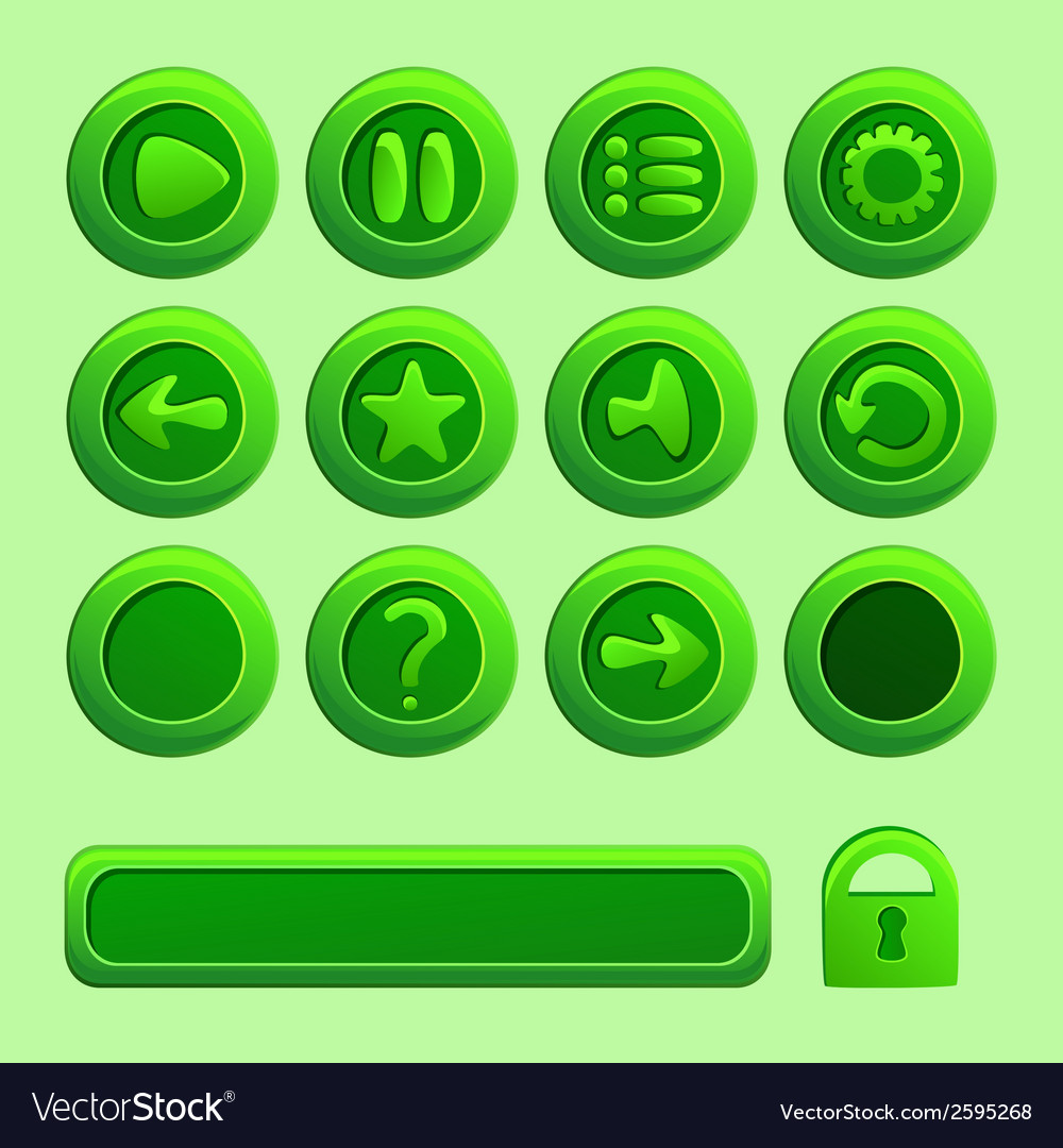 Mobile green elements for ui game - a set play