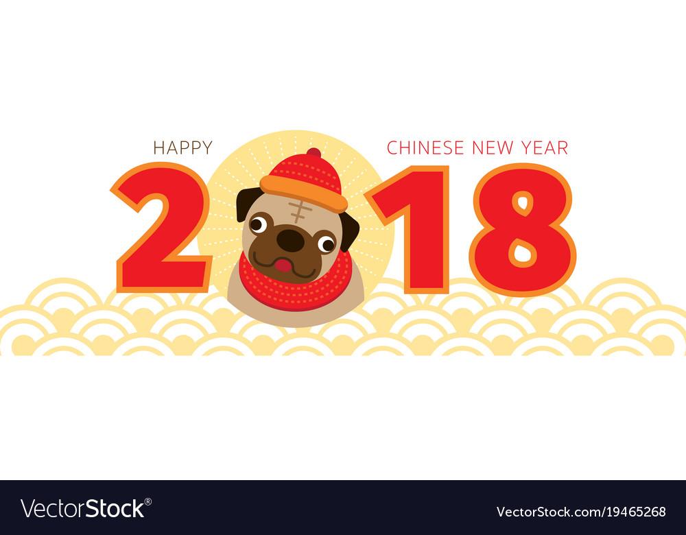 Pug dog chinese new year 2018