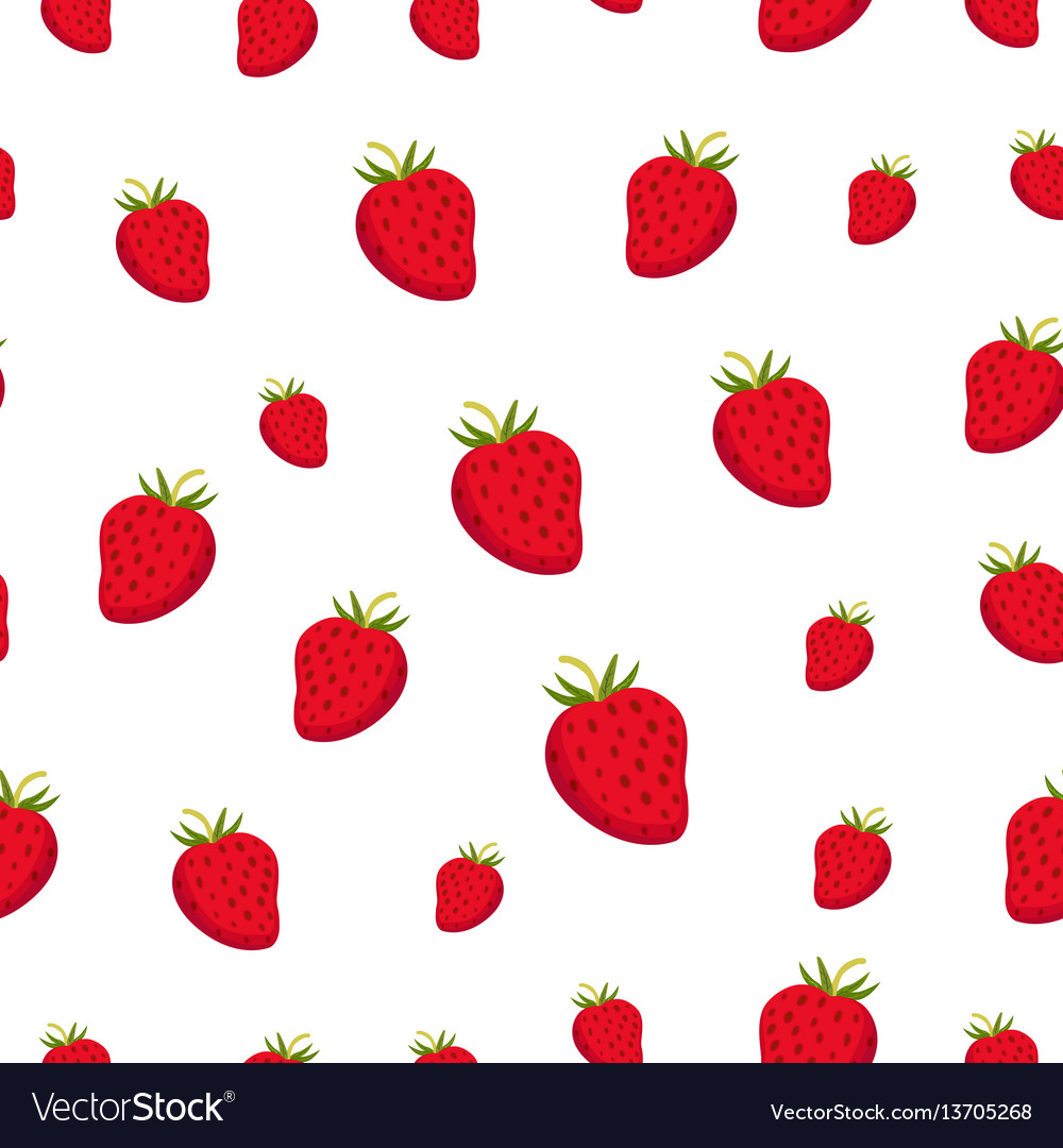 Seamless pattern with strawberry juicy healthy