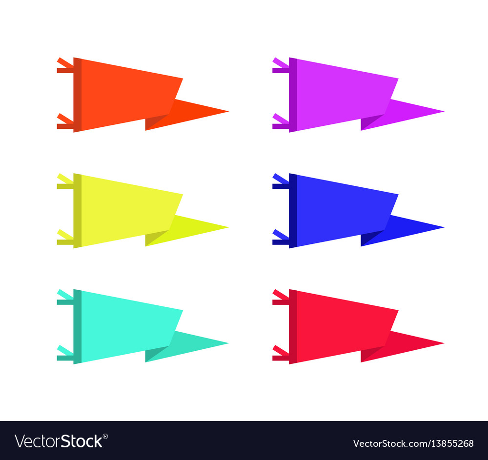 Set of adventure pennants flags vector image