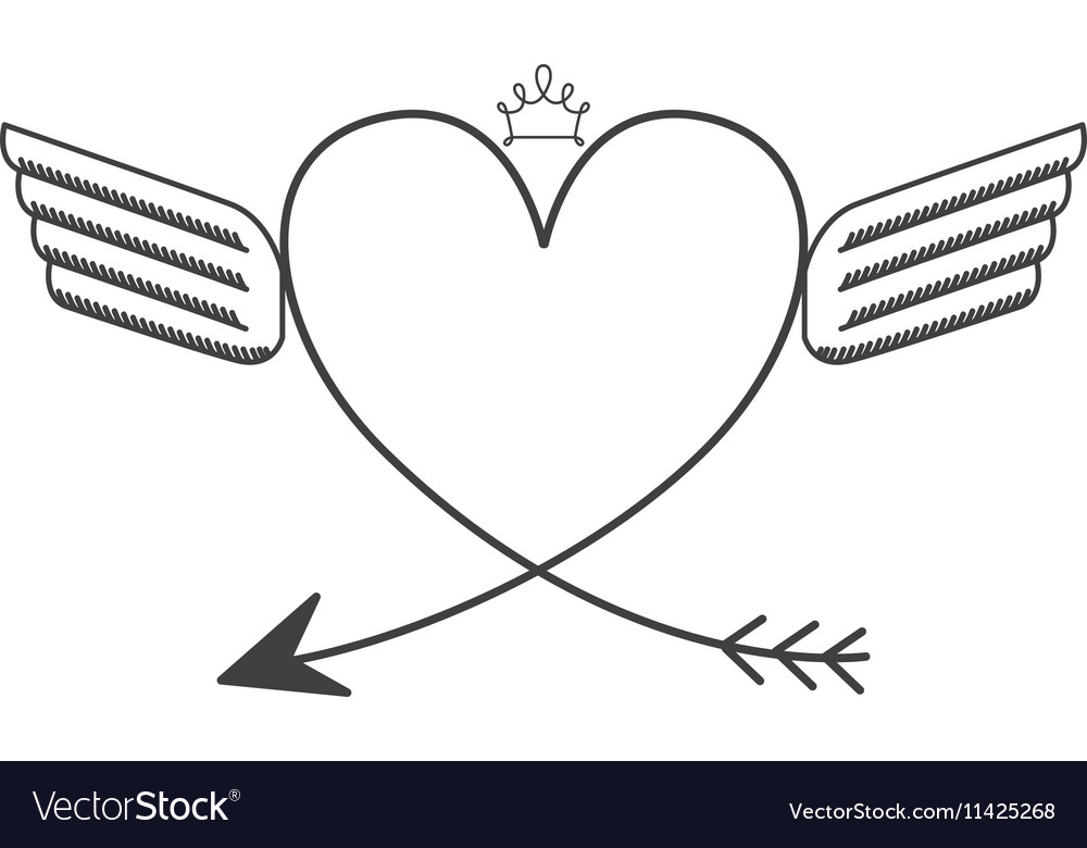 Silhouette with two wings heart and crown vector image