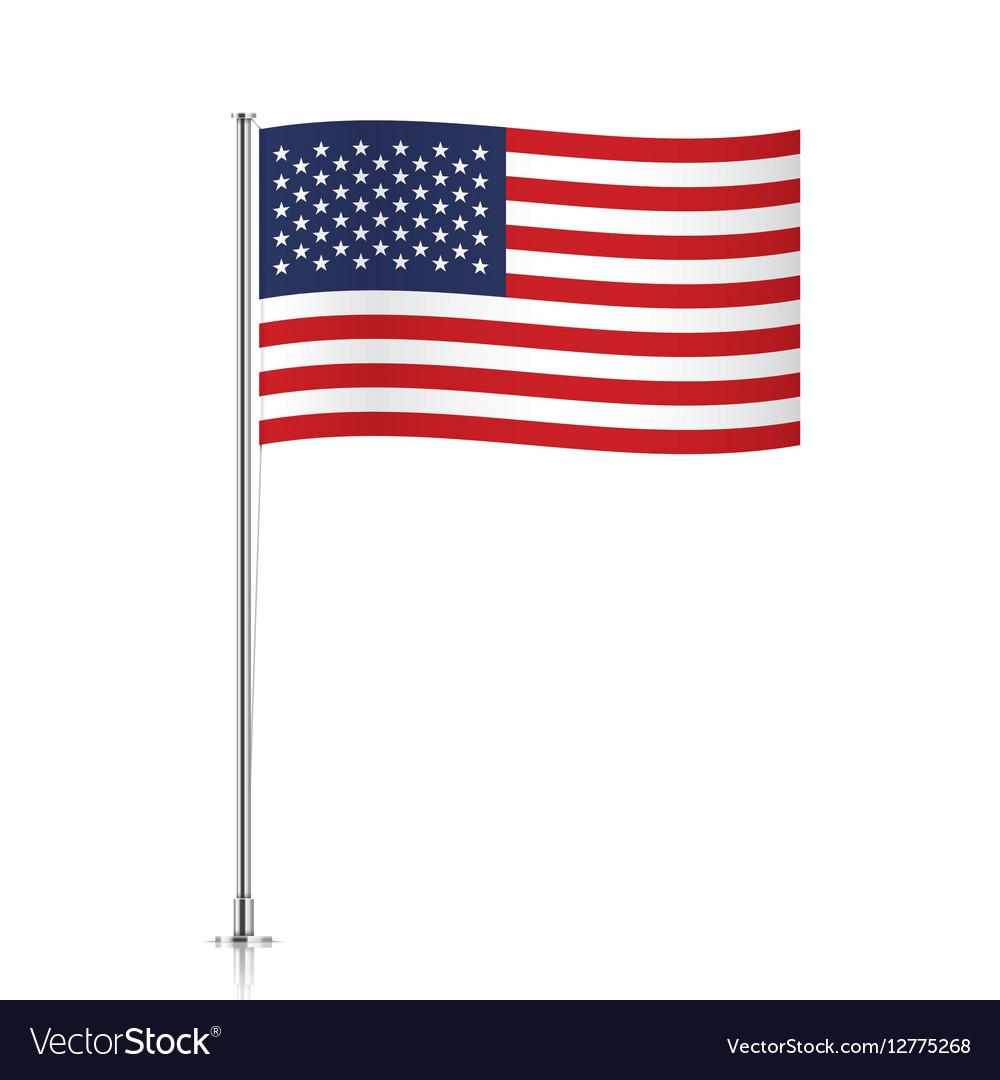 USA flag waving on a metallic pole