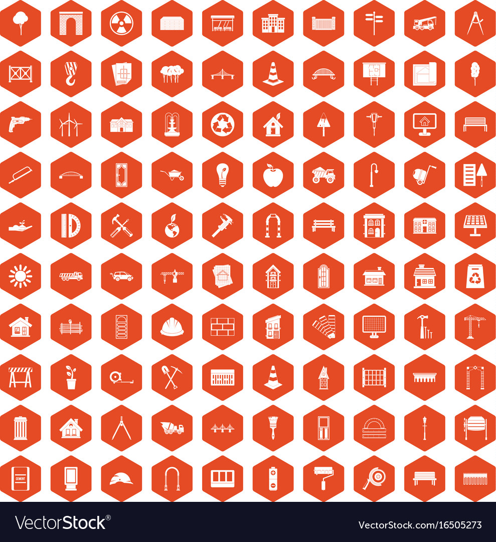 100 architecture icons hexagon orange vector image