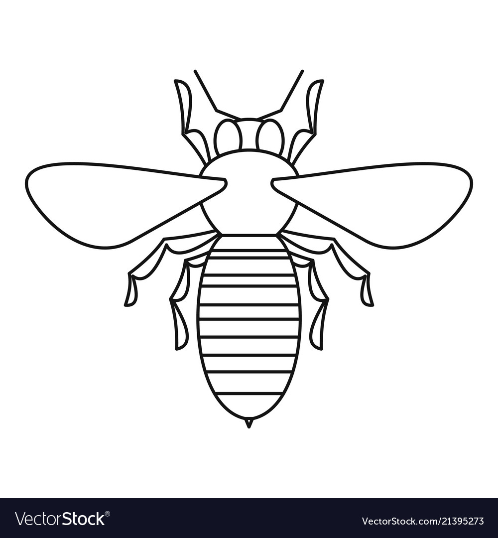 Bee icon outline style