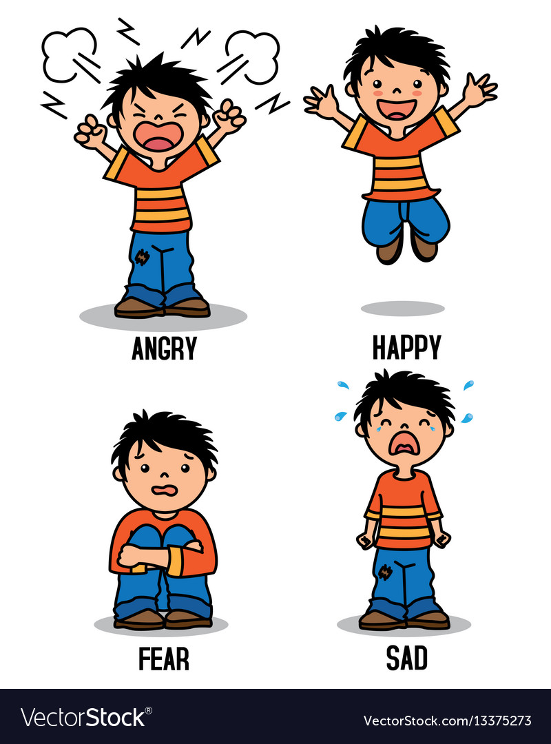 Boy with different emotions