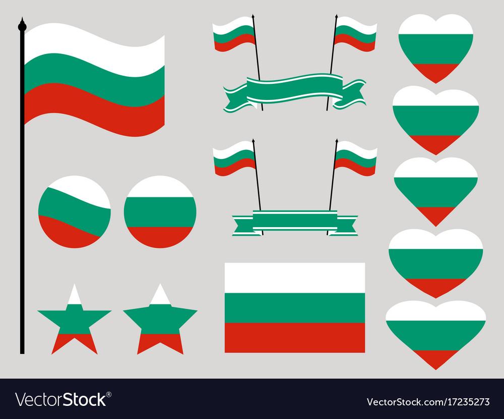 Bulgaria flag set collection of symbols heart