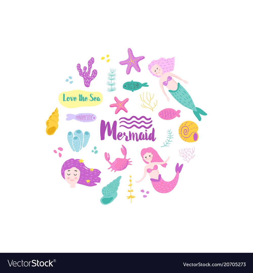 Childish card with cute mermaids