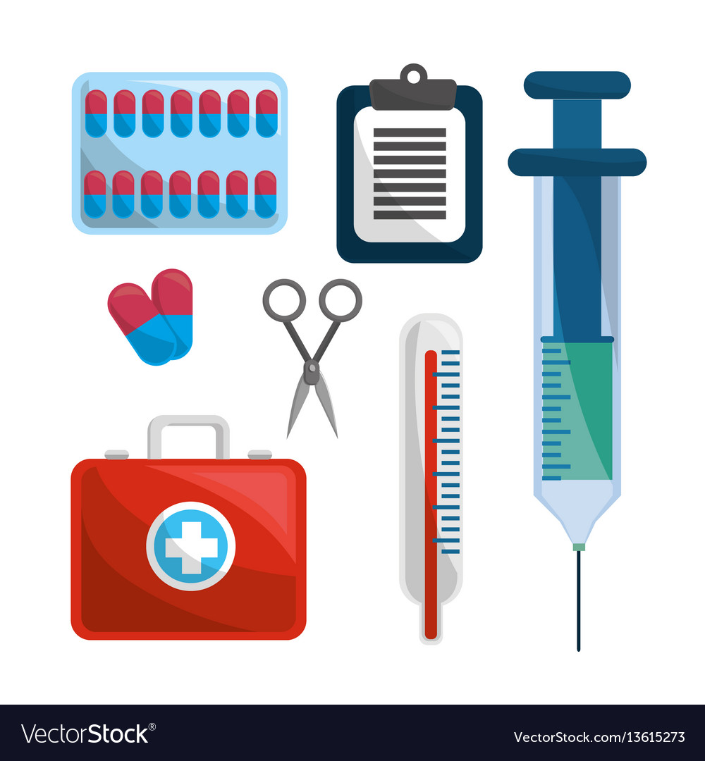 Color healthcare medications tools icon