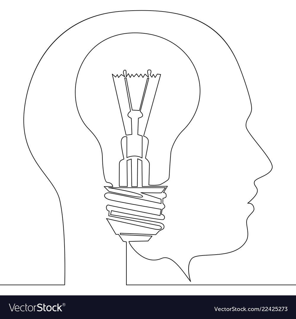 Continuous one line light bulb idea in head