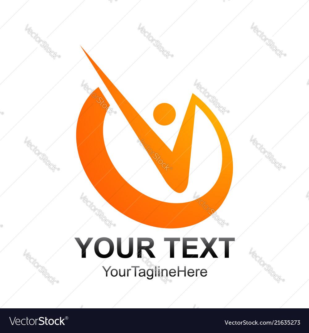 Initial letter v logo template colored orange